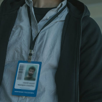Man wearing his ID