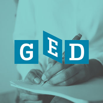 Logo of GED with a woman writing as background