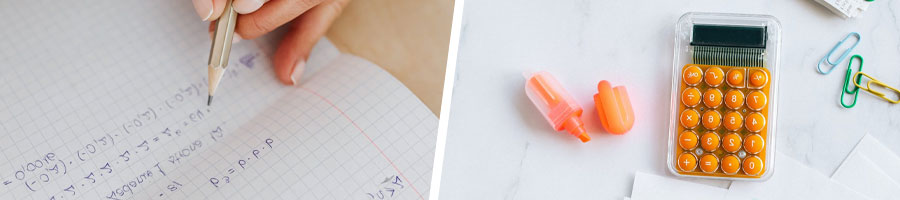 A person writing on paper, calculator and highlighter