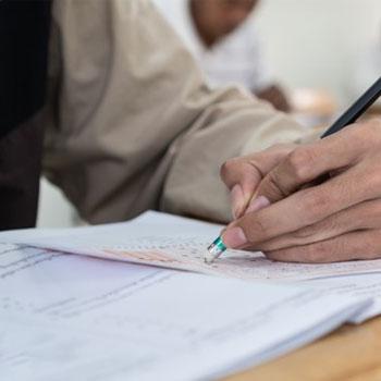 A man during a classroom exam