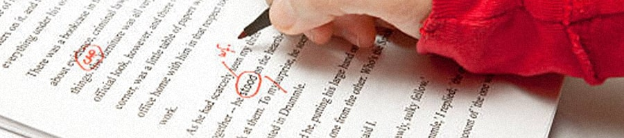 Proofreading different paragraphs written on paper