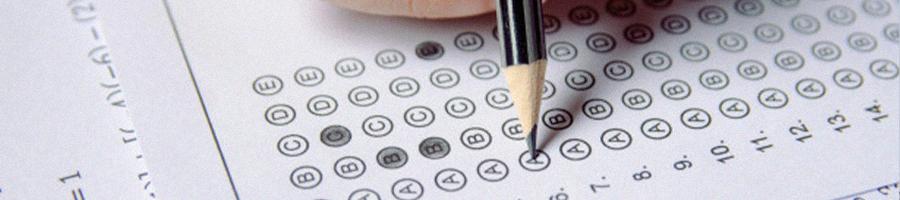 Close up photo of answering an answer sheet