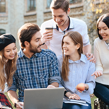 A group of students studying together