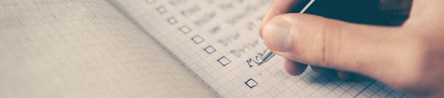 A checklist on a notebook