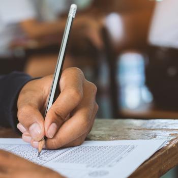 A person answering an examination