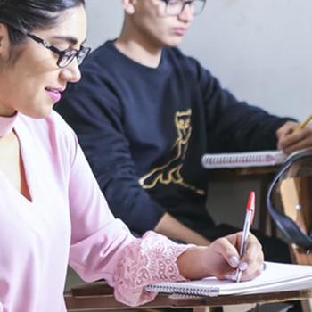 Students answering an examination