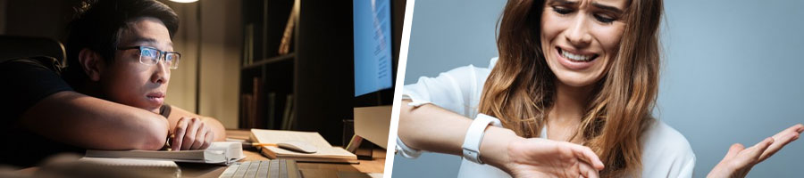 male student getting tired looking at PC screen, and woman looking at her watch frustrated