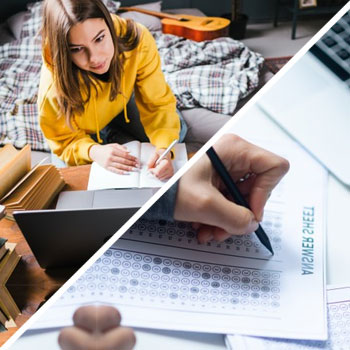 female student writing and attending an online class, and a person answering an exam paper