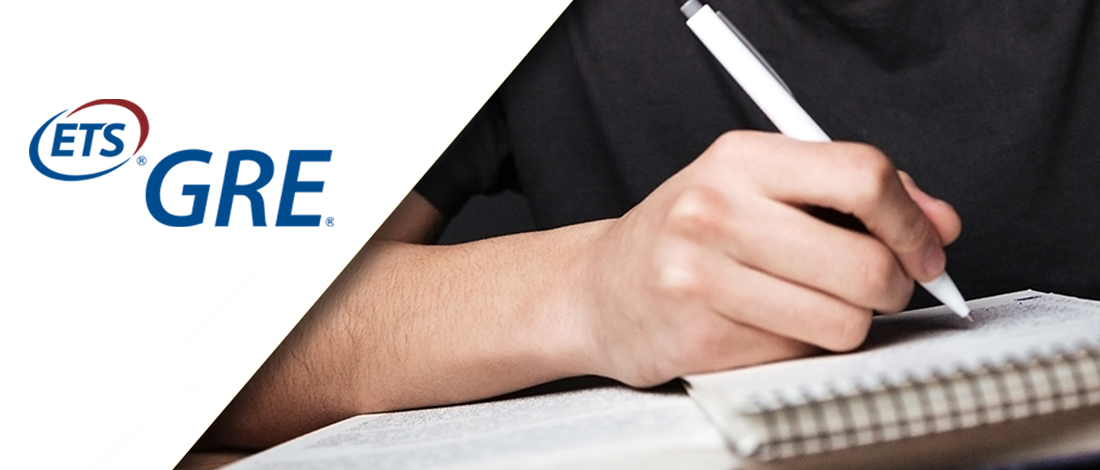 Man writing an essay combined with a GRE logo