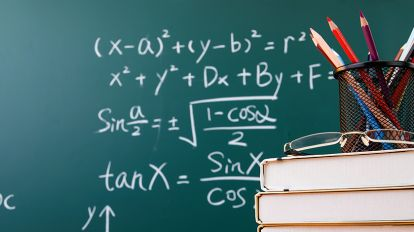 Blackboard with equations for GRE math