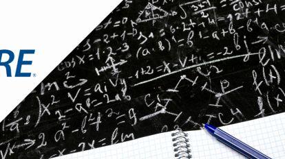 GRE math formulas written on blackboard
