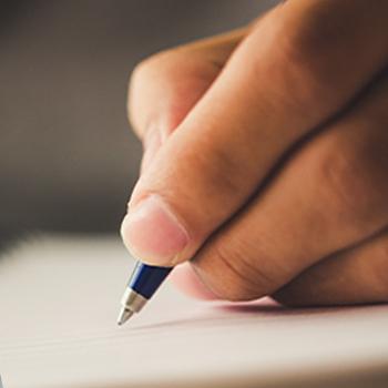 Close up image of hand writing