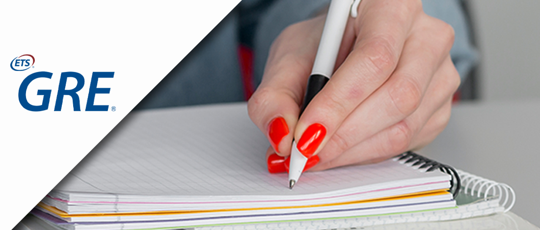 Woman writing on a notebook combined with GRE logo