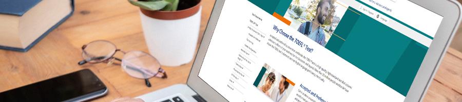 The ETS website on laptop