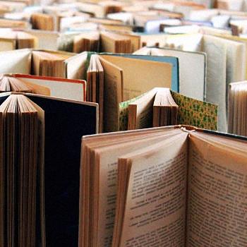 Standing open books