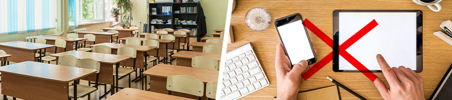 school classroom desk and chairs, and different electronic devices on desk