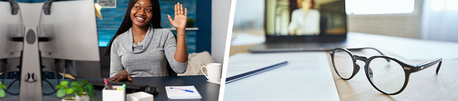 Woman raising her hand during an online class, and a close up image of laptop, glasses, and a paper